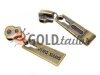 Повзунок Jing для металевої блискавки тип 3 антік