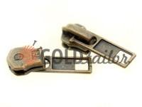 Slider SQUARE for metal zipper type 5 antique