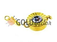 Застібка для намиста кругла з каменем АВ d = 12mm золото