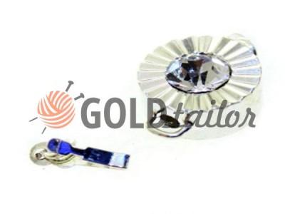 Застібка карабін для бус кругла з каменем АВ d = 12mm колір нікель опт