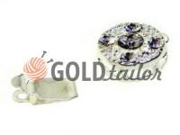 Застібка для намиста кругла з 5 камінням d = 10mm нікель