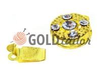 Застібка для намиста кругла з 5 камінням d = 10mm золото