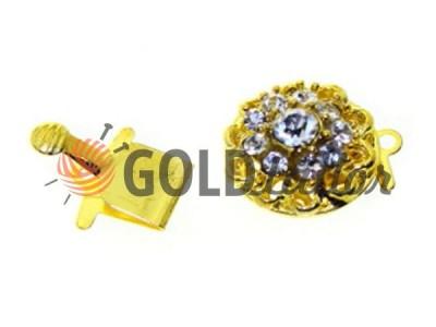 Застежка карабин для бус круглая с 10 камнями d=14mm цвет золото опт