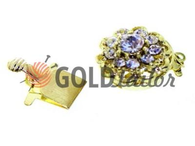 Застежка для бус круглая с 10 камнями d=14mm темное золото купить опт
