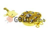 Застібка для намиста 18мм * 18мм з 9 камінням золото