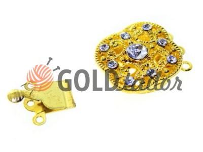 Застібка карабін для бус 18мм * 18мм з 9 камінням колір золото купити опт