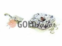 Clasp for beads 18mm * 18mm with 9 stones nickel