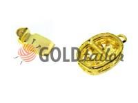 Застібка для намиста овальна з 3 камінням 9мм * 12мм золото