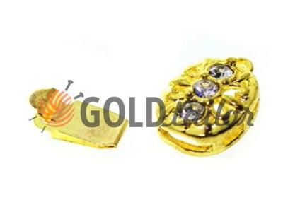 Застежка для бус овальная с 3 камнями 9мм*12мм цвет золото купить опт