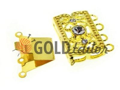 Купити Застібка для намиста прямокутна з 3 камінням 12мм * 20мм золото