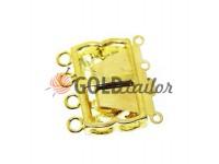Застежка для бус прямоугольная с 3 камнями 12мм*20мм золото