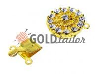 Застібка для намиста кругла з 14 камінням d = 16мм золото