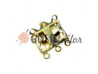 Застібка для намиста прямокутна з 3 камінням 11мм * 16мм золото
