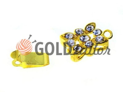 Clasp for necklace Flower with 9 stones 10mm * 12mm gold Wholesale and discord