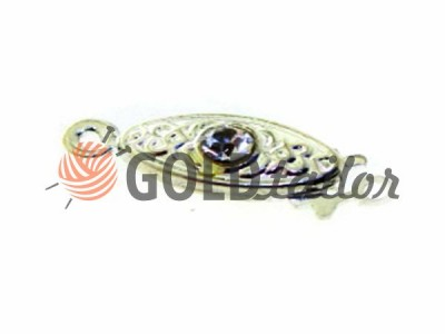 Buy clasp oval beads with 1 stone 5mm * 12mm Nickel wholesale