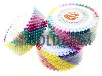 Купить Набор булавок 480 шт портновских на кольце с цветными ушками оптом