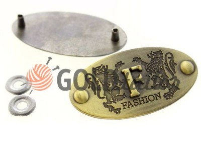 Buy oval metal tag F-Fashion 21mm * 43mm Antique