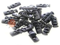 Fixator for cord d = 5mm plastic two-hole 9mm * 21mm black, 10 pcs
