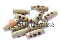 Fixator for cord d = 4mm plastic two-hole 9mm * 21mm beige, 10 pcs