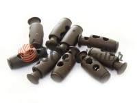 Fixator for cord d = 4mm plastic two-hole 9mm * 21mm brown, 10 pcs