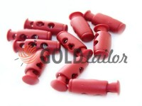 Fixator for cord d = 4mm plastic two-hole 9mm * 21mm red, 10 pcs