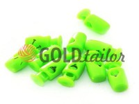 Fixator for cord d = 4mm plastic single hole 8mm * 18mm green, 10 pcs