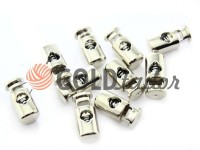 Fixator for cord d = 5mm plastic single hole 10mm * 22mm nickel, 10 pcs