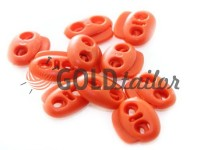 Fixator for cord d = 5mm elips two-hole 18mm * 20mm red, 10 pcs