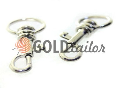 Карабін металевий для ключів під тасьму 13мм нікель 13 мм * 33мм