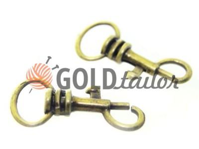 Карабин металлический для ключей под тесьму 13мм антик 13 мм*33 мм