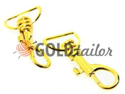 Карабін металевий для ключів під тасьму 20мм золото 20 мм * 45 мм