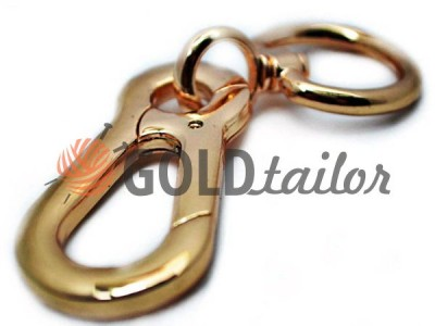 Metal Carabiner for bags under the braid 25mm dull gold 25 mm * 105 mm