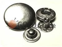 Button Alfa smooth 15 mm 17 mm 20 mm nickel China, 50 pcs