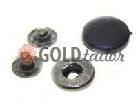Button Alfa with black plastic cap 15 mm oxide China, 50 pcs