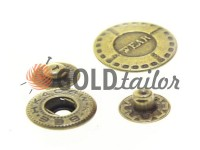 Кнопка Alfa Wear 17 мм антик Китай, 50 шт
