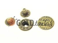 Button Alfa Jeans 15 mm antique China, 50 pcs