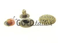 Кнопка NEWSTAR №61 нержавіюча гладка 15 мм темний нікель Туреччина, 72 шт