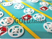 Button White Rabbit sew plastic white 8 mm - 20 mm