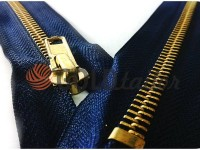 Блискавка джинсова тип 4, довжина 18 см, колір синій, зуб золото