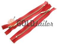 Блискавка металева карманна тип 4, довжина 16 см, колір червоний, зуб нікель
