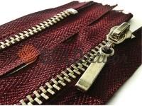 Блискавка металева карманна тип 4, довжина 16 см, колір бордовий, зуб нікель