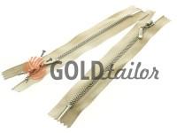 Блискавка металева карманна тип 4, довжина 16 см, колір бежевий, зуб нікель