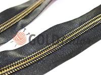Zipper pocket spiral 1 cm type 5, color black+gold