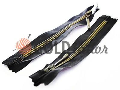 Zipper pocket spiral 16 cm type 5, color black+gold, wholesale and retail