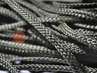Cord braided flat 7mm, color black