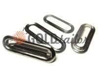 Люверс овал сталевий з кільцем 25 мм - 35 мм, колір темний нікель, 1 шт