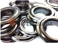 Люверс сталевий з кільцем 13 мм, колір темний нікель, 50 шт