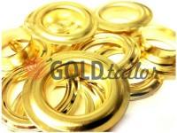 Люверс сталевий з кільцем 13 мм, колір золото, 50 шт
