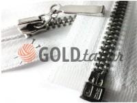 Блискавка металева тип 4 роз'ємна, колір білий, зуб нікель