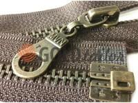 Блискавка металева тип 5 роз'ємна посилена, колір коричневий, зуб антік